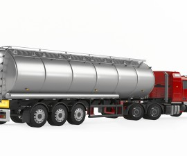 Fuel gas tanker truck back isolated