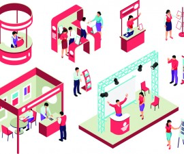 isometric expo stand trade show exhibition set