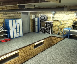 View of a Garage 3D Interior 3D Rendering
